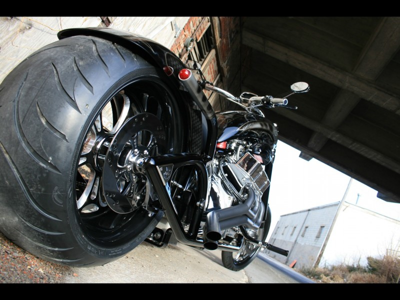 Black V8 chopper