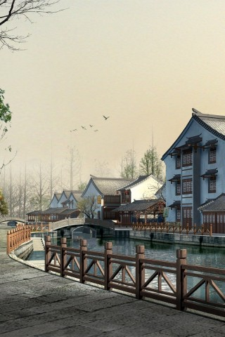 Chinese Village wallpaper