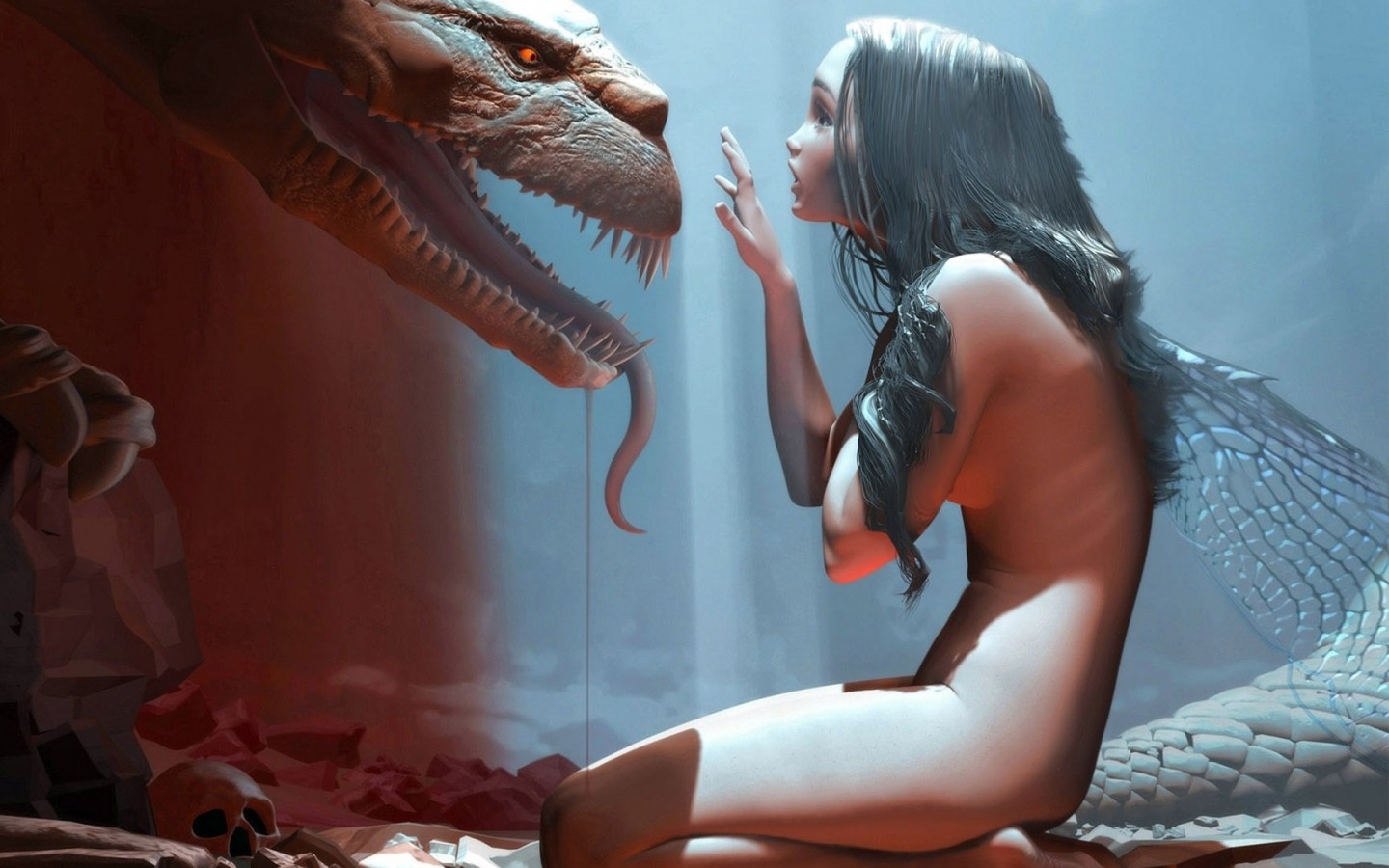 3d fantasy wallpaper - Girl and dragon