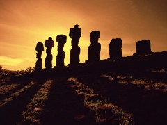 Moai Stone Statues at Sunset, Easter Island