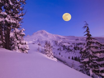 Moon Over Mount Hood at Dawn
