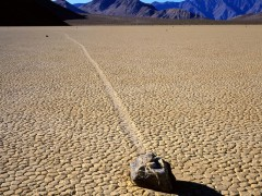 Mysterious Sliding Rock at Racetrack Playa, Death Valley National Park, California
